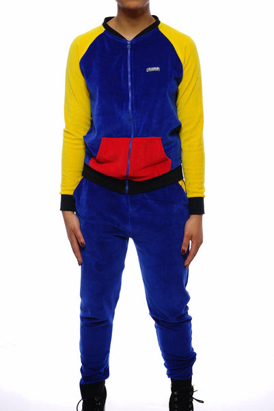 Womens Color Block  Velour Suit