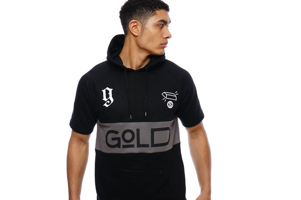 """Gold Bricks"" Short Sleeve Track Suit (Black)"