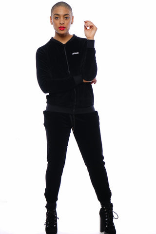 Womens Velour Track Suit ( Black )