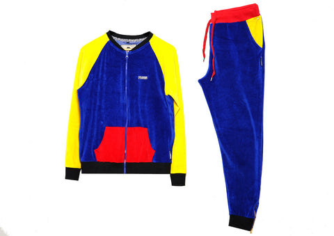 Womens Velour Track Suit ( Tri-Color Block )