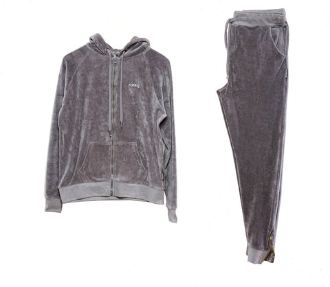 Womens Velour Track Suit ( Grey )