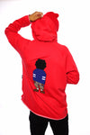 Chenille Embroidered Digital Nerd Hoodie (Red)