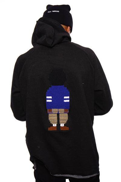 Chenille Embroidered Digital Nerd Hoodie ( Black)