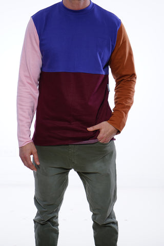 Raw Edge Color Block Crew Neck
