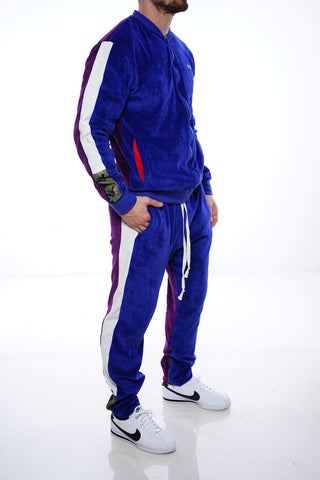 RichWierdo 2-Tone Velour Track Suit (Navy/Purple)