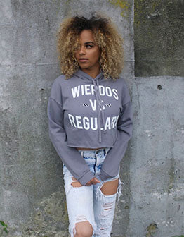 Wierdos Vs Regulars Crop Top (Grey)