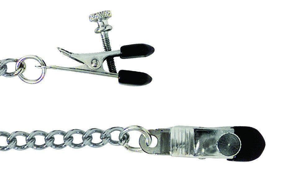 Adjustable Broad Tip Nipple Clamp with Chain