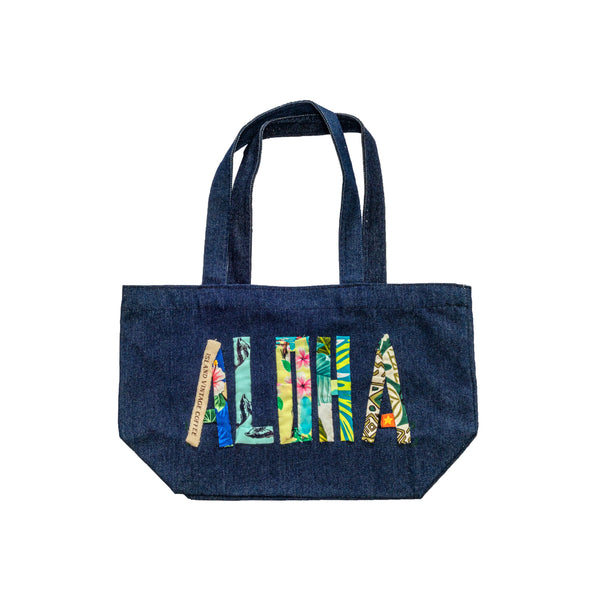 Handmade Denim Bag with Hawaiian Quilt Lettering
