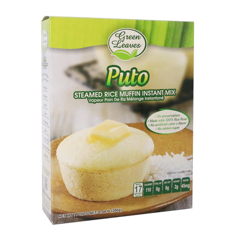 Green Leaves Rice and Coconut Instant Dessert- Puto (Gluten-free Steamed Rice Muffin)
