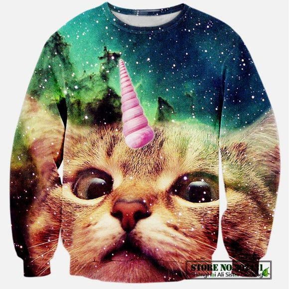 2017 New Fashion Men/women's Unicorn Cat Hoodie