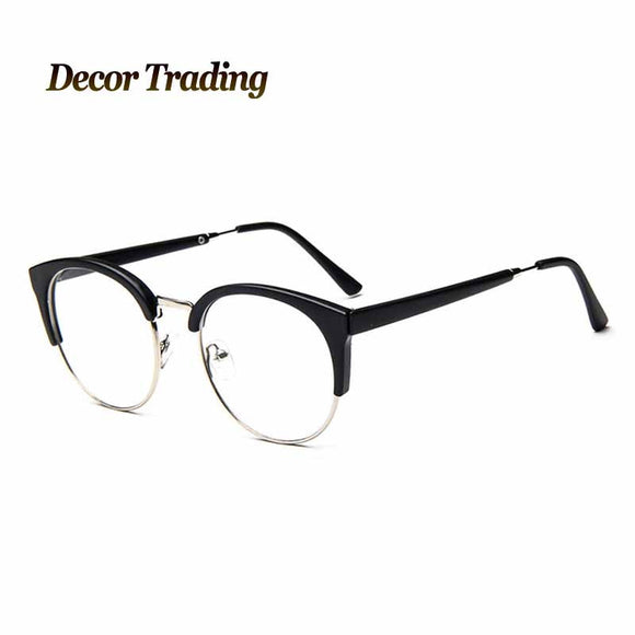 Fashion Cat Eye Half Metal Frame Glasses For Women