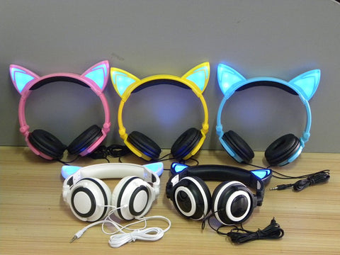 Flashing Glowing cat ear headphones