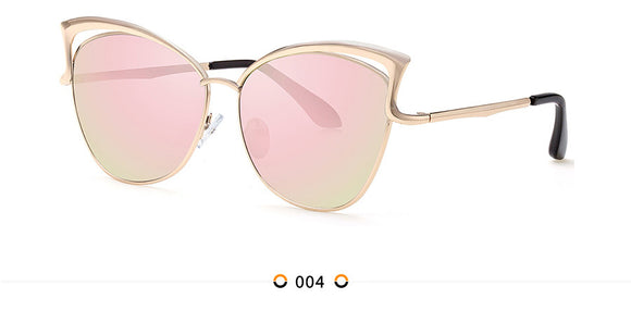 High Quality Cat Eye Female Sunglasses Gold Metal