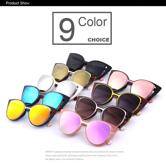 MERRY'S Fashion Cat Eye Sunglasses Women Brand Designer Retro Pierced Female
