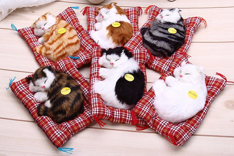 Lovely Simulation Animal Doll Plush Sleeping Cats Toy with Sound Kids Toy Birthday