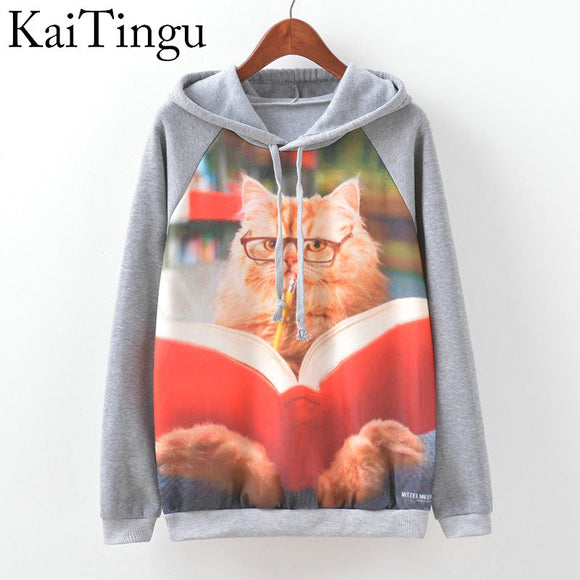 KaiTingu Brand Fashion Autumn Winter Long Sleeve Women Sweatshirt Harajuku Owl Print Hoodies Hooded Tracksuit Jumper Pullover