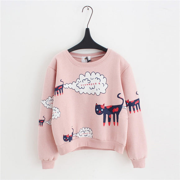 Sweatshirt Women Tops Plus Size Loose Casual Plus Thick Velvet Cartoon Cat Pattern Sweatshirts Pullovers