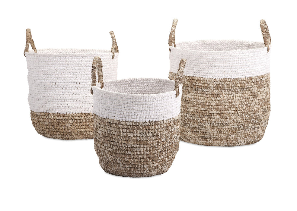 Shoelace-and-Raffia-Woven-Baskets