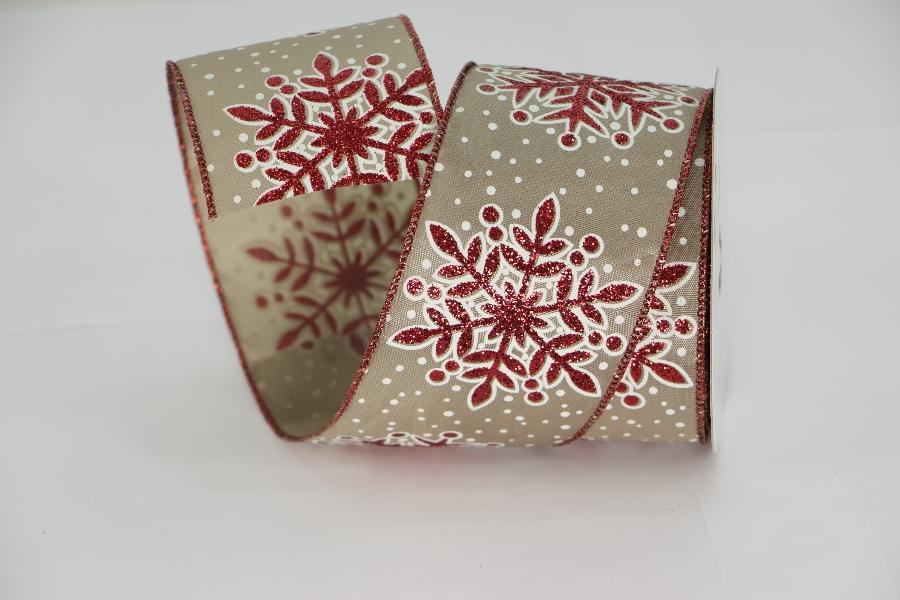 2.5x10y taupe/red snowflake ribbon