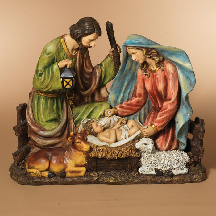 "37.8""  Solar Holy Family w/Cow & Sheep"