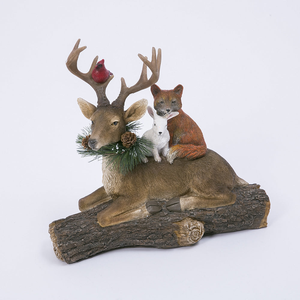 "14"" Deer w/Critters on Log"