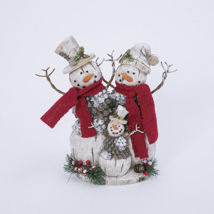 "10.6"" Rd Scarf Snowman Family"