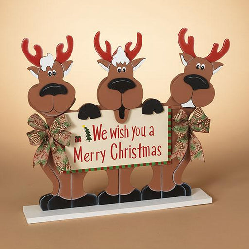 "21.5"" Reindeers Holding Sign"