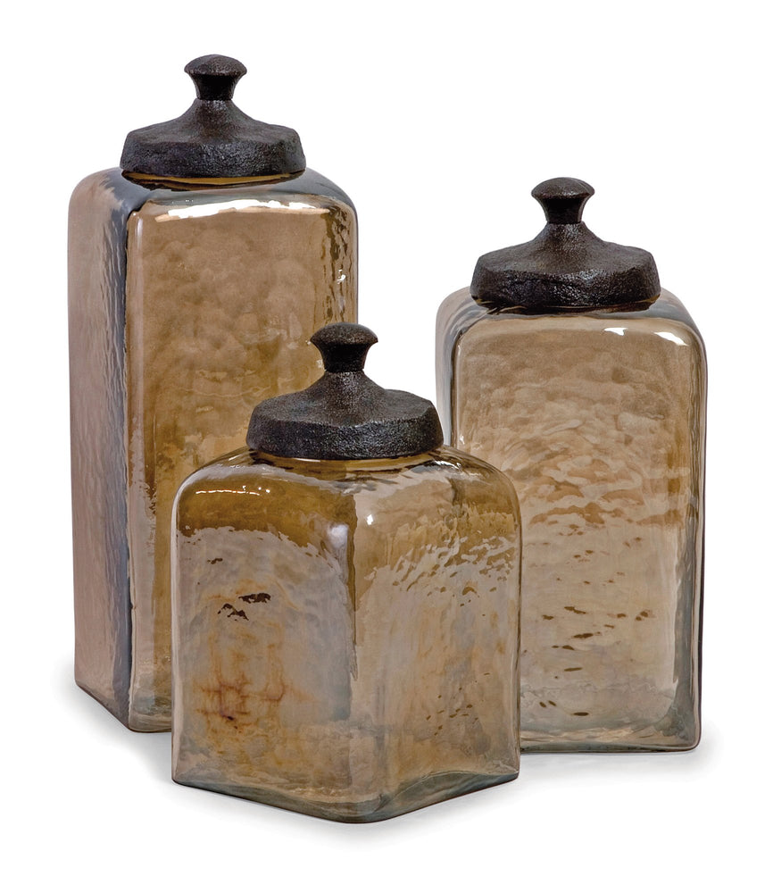 Square-Brown-Luster-Lidded-Containers
