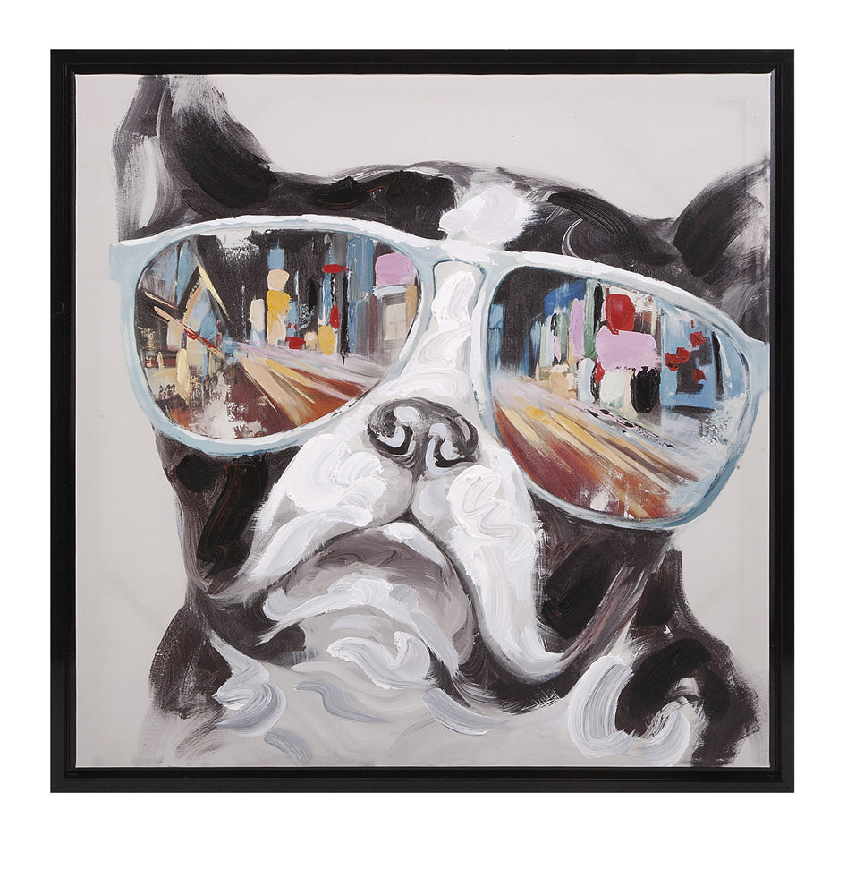 City-Shades-Dog-Framed-Canvas