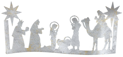"10.5x21.25""Mtl Silver Nativity Scene"