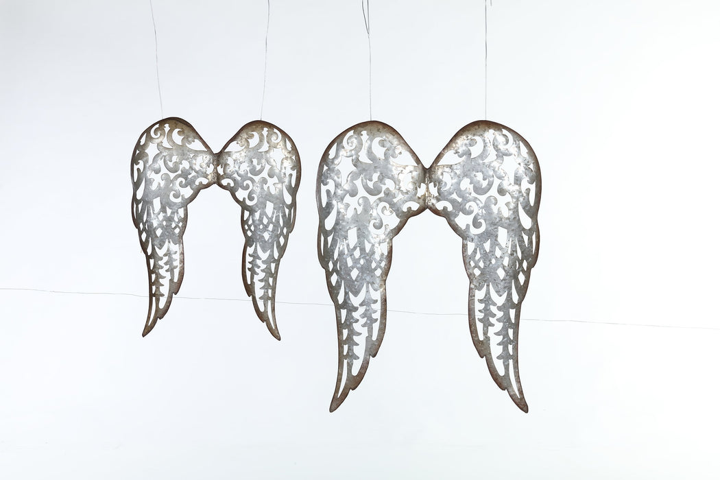 "18x14"" Galv. Scroll Angel Wings"