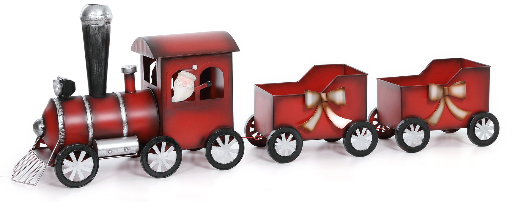 "17.255x53"" Mtl Red Santa Train 2-Car"