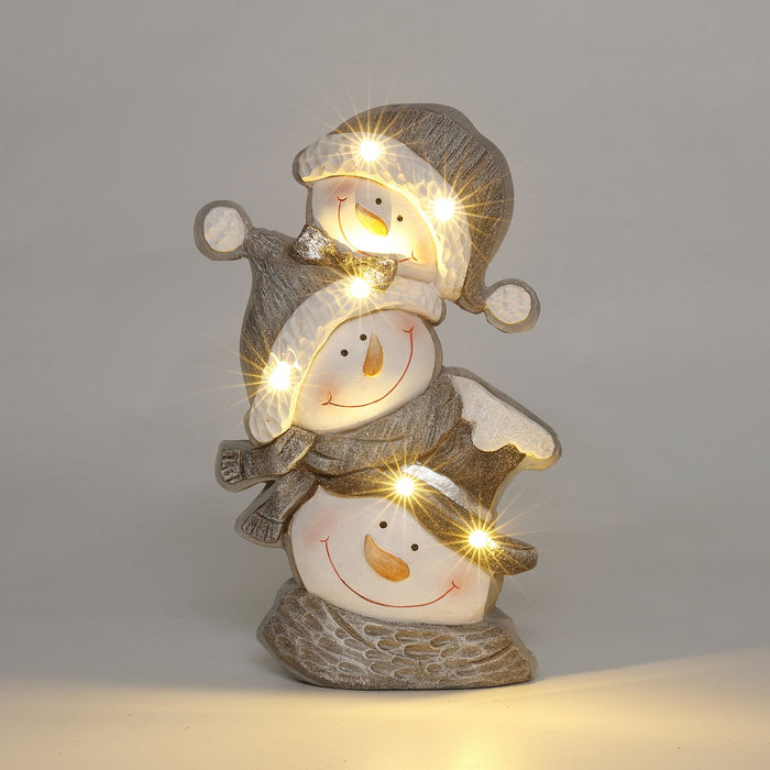 "15.5x10"" LED Silver Snowman Stack"