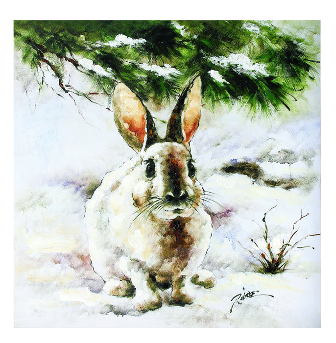 "24X24""  SNOW BUNNY OIL PAINTING"