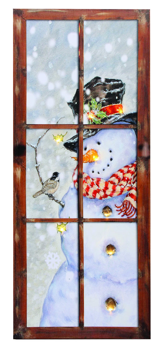 "12X30"" B/O SNOWMAN IN WINDOW"