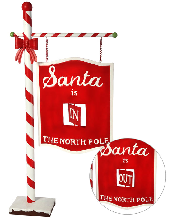 "39"" MTL SANTA IS IN/OUT SIGN POST"