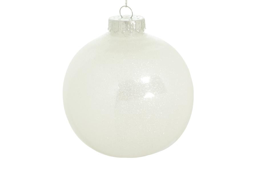 80mm white glitter ball