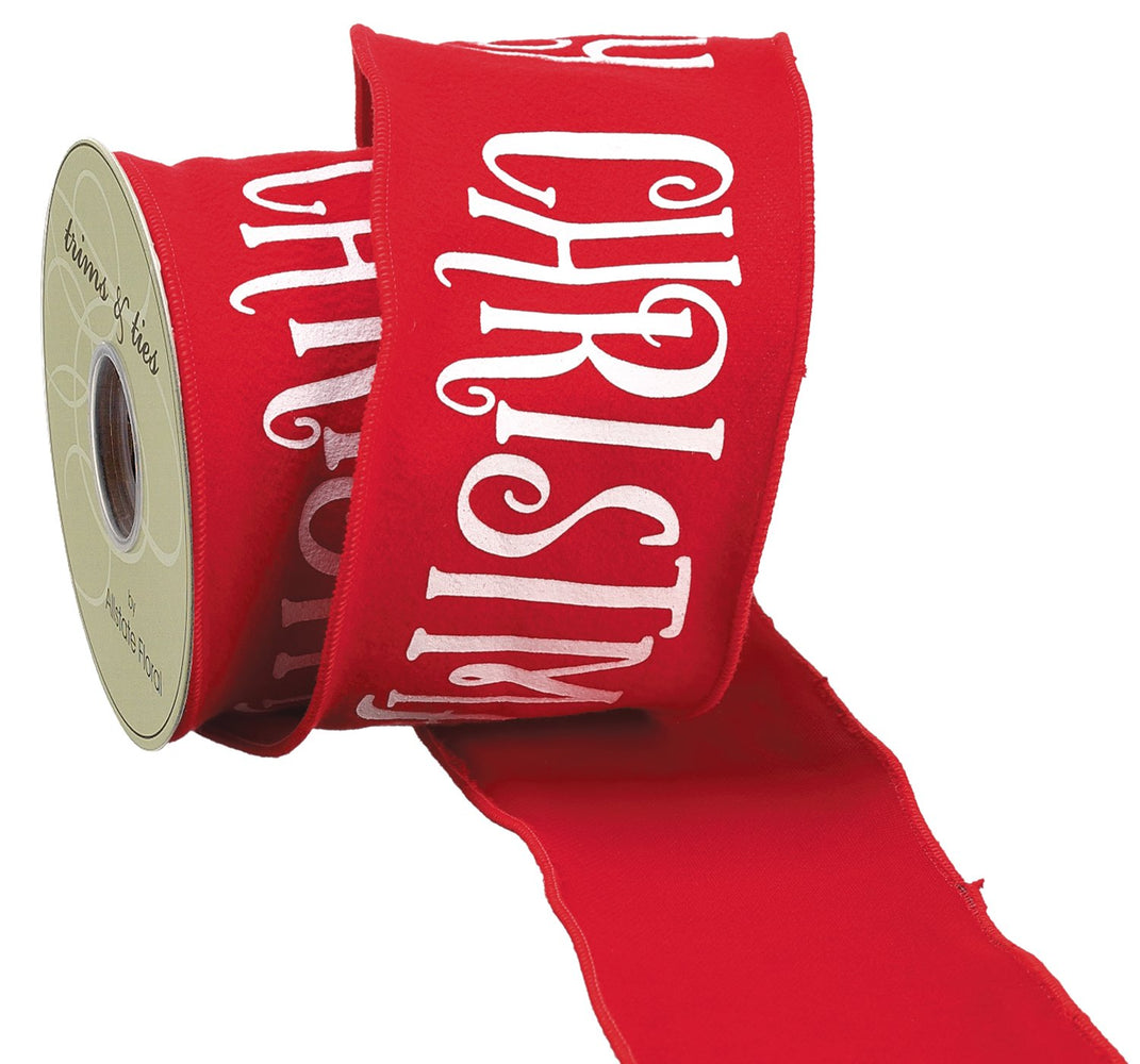 "4""x10yd Red Merry Xmas Ribbon"