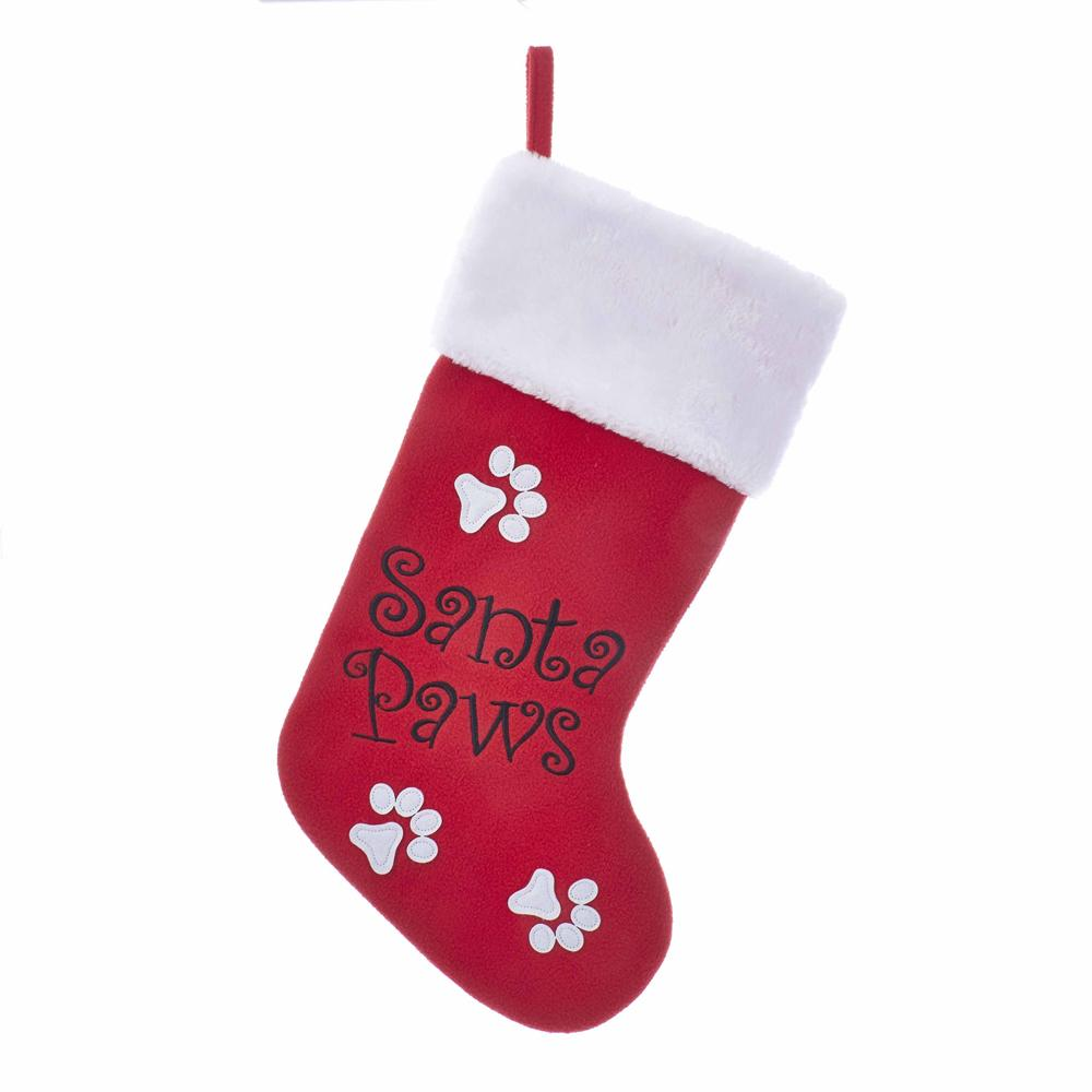 "19"" red santa paws stocking"