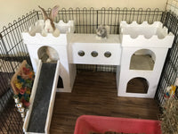 White Bunny Castle with 2 Towers, Bridge and Ramp