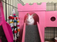 Pink Bunny Castle with Bridge and Ramp and 2 Towers