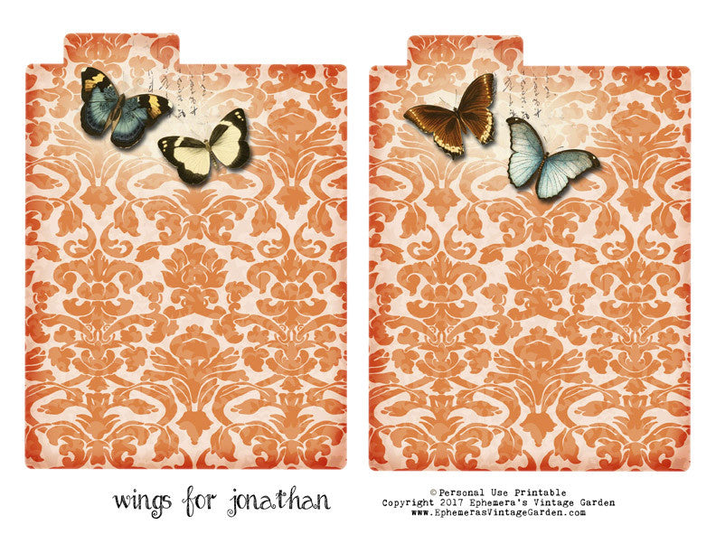Free Printable - 'Wings For Jonathan' Mini File Folders