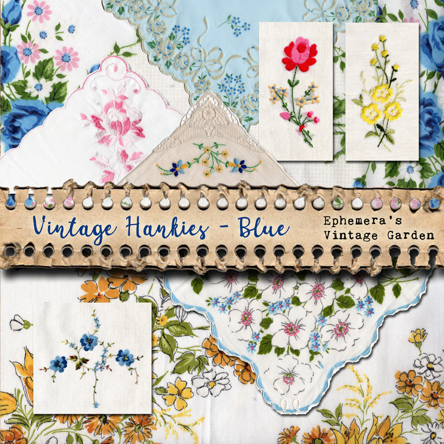 NEW! Vintage Hankies - Blue