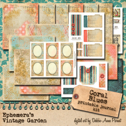 Coral Blues - Printable Journal Kit