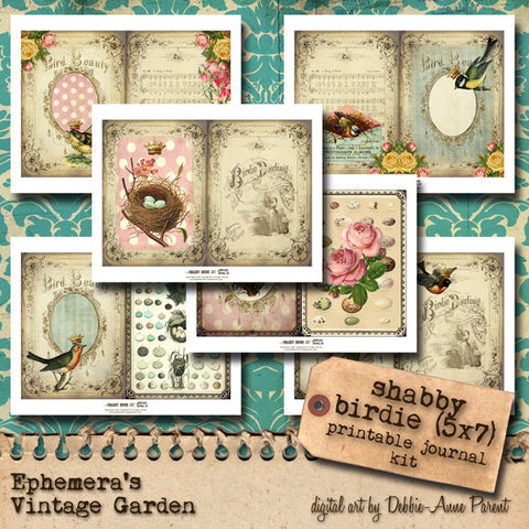 Shabby Birdie II - Printable Journal Kit