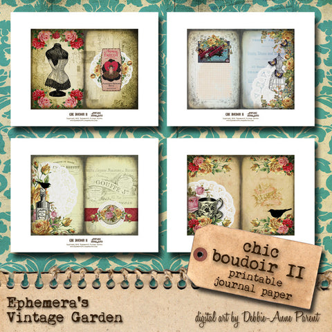 Chic Boudoir II - Printable Journal Kit