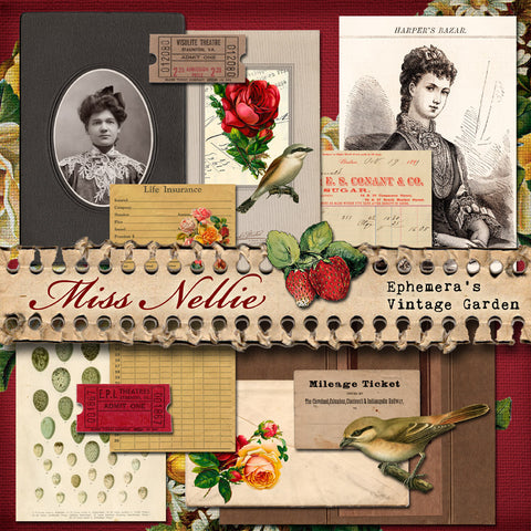 Miss Nellie - Printable Ephemera Kit