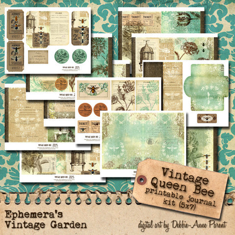 Vintage Queen Bee - Pritnable Journal Kit
