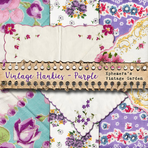 Vintage Hankies - Purple