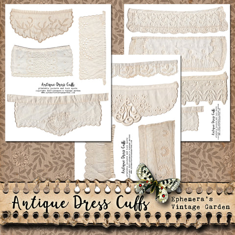 Antique Dress Cuffs - Printable Pockets and Tuck Spots